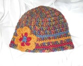 Multi-Colored Crocheted Hat with Flower Accent