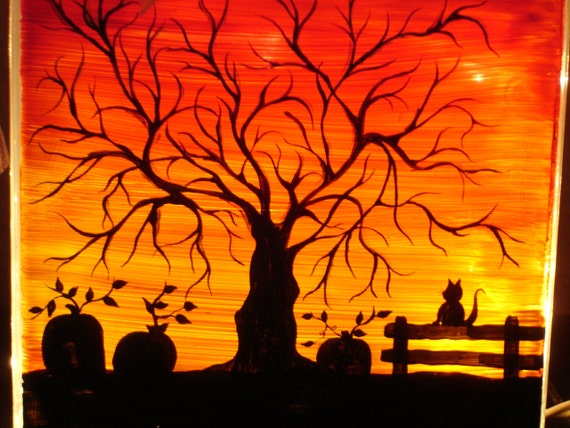 Halloween Sunset Two Sided Glass Block