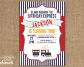 Train Invitation - DIY Printable - Birthday Invite - Shower Invite - Vintage Railroad