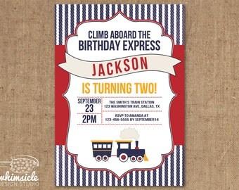 Train Invitation - DIY Printable - Birthday Invite - Shower Invite - Vintage Railroad