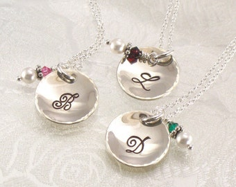 "Bridesmaids Monogrammed Necklaces Set of Three - 5/8"" Sterling Silver Cupped Charms Hand Stamped with Initial - Bridal Party Jewelry"