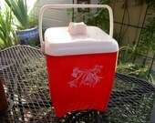 Vintage Red Retro 1950 Ice Bucket with white movable handle-painted design on front