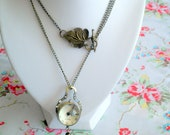 Enchanted Gobe - Antiqued Bronze Glass Globe Watch Pendant Necklace