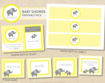 Elephant Baby Shower Printable Party Pack - DIY