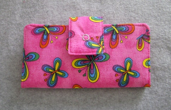 Fabric Wallet - Bright Pink with Multi-Colored Butterflies