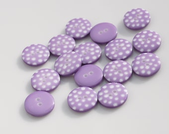 Lilac Polka Dot Buttons - Pack of 10