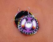 Native American Beaded Earrings - TWO FEATHERS BLING Purple