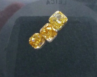 Natural YELLOW DiAMOND. CONFLiCT-FRee. Mined in Australia. Cushion. Fancy Vivid Yellow. Si2. 1 pc. 0.15 cts. 2.80x2.80mm  (Dia236)