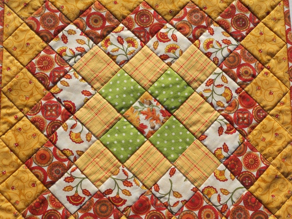 Farmhouse Scrappy Patchwork Quilted Table Topper Gold Brown Green