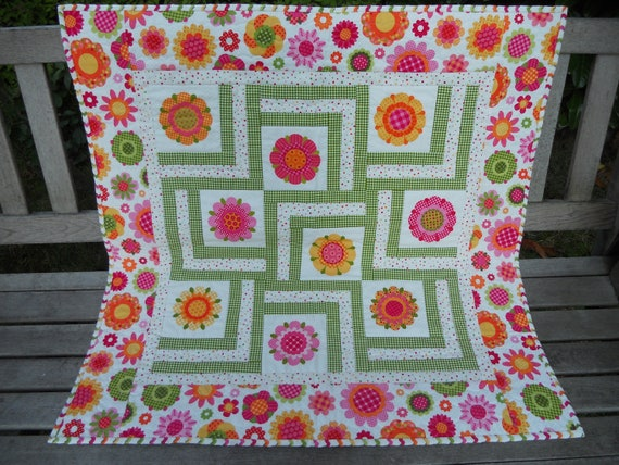 Modern Baby Girl Quilt in Pink, Orange, Lime, Yellow