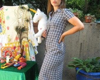 Vintage 80s Esprit Plaid School Pleasures Dress