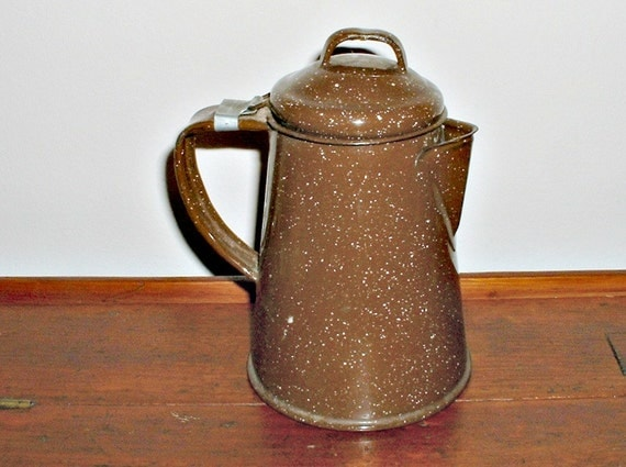 Enamelware Coffee Pot Chocolate Brown Graniteware Vintage