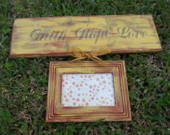 Picture Frame/Sign, Single Frame, Mustard and Burgundy, Decorative Sign Board