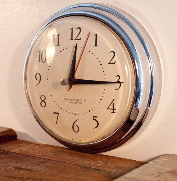 Retro Electric Kitchen Wall Clocks: Vintage Westclox Electric Chrome Wall Clock Art Deco Spice