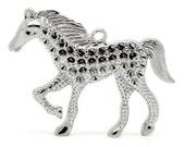 "2PCs Silver Tone Horse Animal Pendants 4.6x3.5cm(1-3/4""x1-3/8"")"