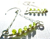 SALE! 20% OFF! Peridot Trapeeze Wire Wrapped Sterling Silver Earrings, Wirework, Wedding Jewelry, Bridesmaids Gift, Bridal Jewelry