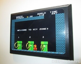 Super Mario Brothers - COMPLETED Three Hook Key Holder - Welcome To Warp Zone - Warp Pipes