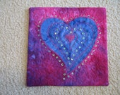 Purple Heart -- Quilted and beaded mini artwork