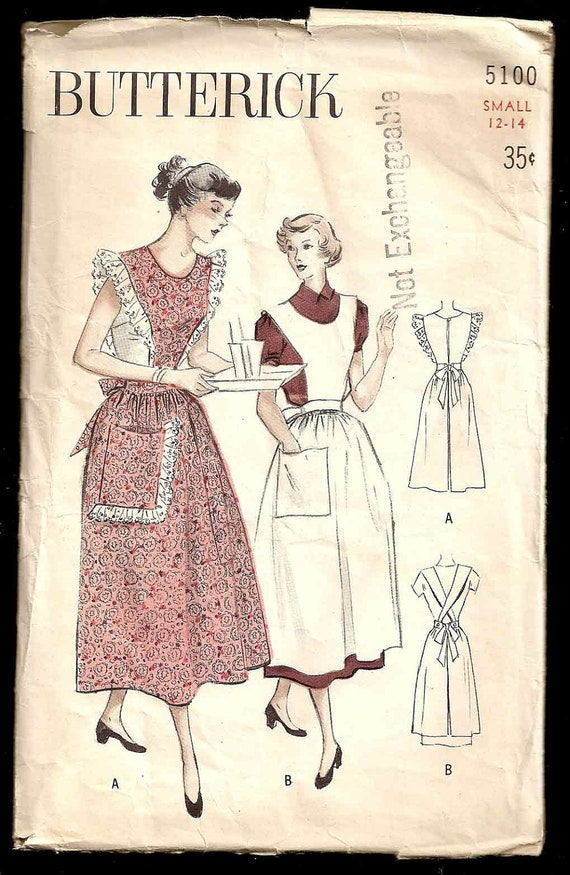Vintage 1940s APRON Pattern Butterick 5100 Coverall Frilled or Plain Aprons