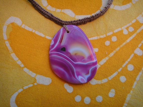 Pretty in Pink Agate Geode Hemp Necklace