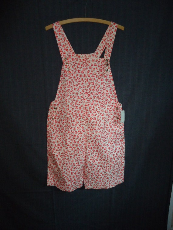 Cute Pink Floral Vintage 1960's NWT Overall Shorts Jumper Romper M L