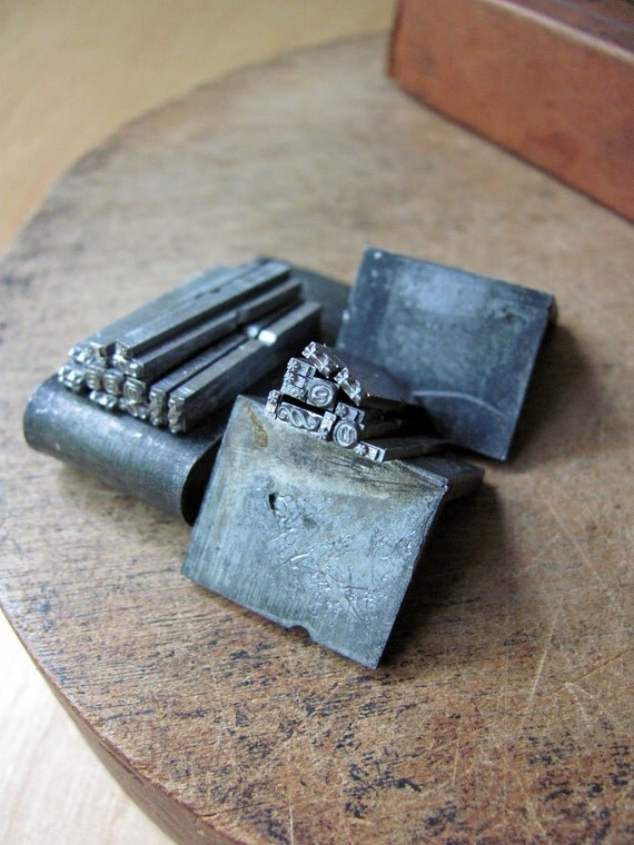 Letterpress Type Set Symbols Printer Block Asterisks, At Sign, Double Dagger, fancy Section Double S, Clean All One Price