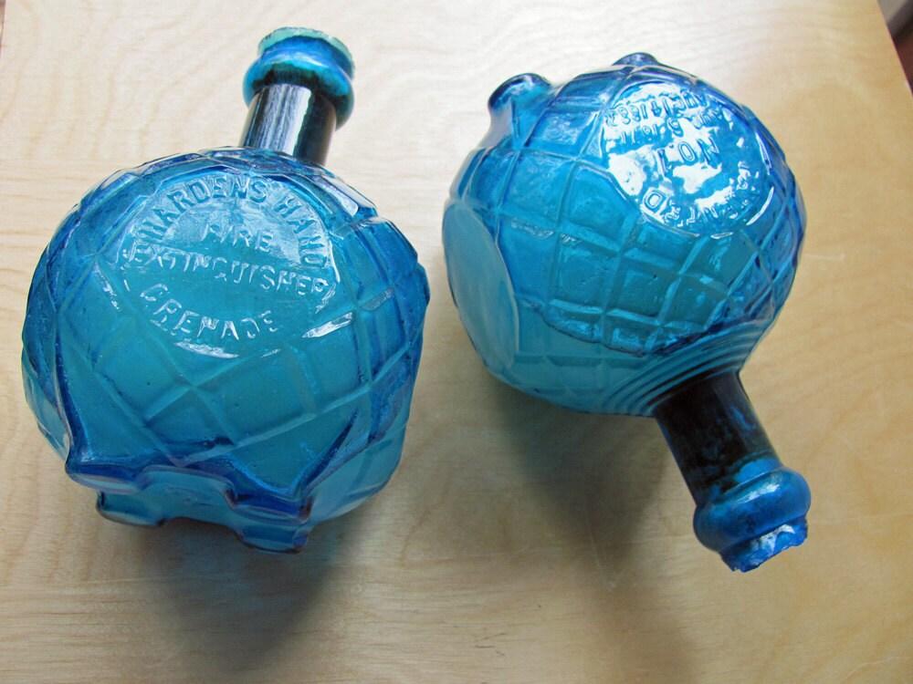 Two Hardens Hand Fire Extinguisher Grenade Antique Blue Bottle