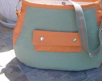 Shoulder Bag, olive green cotton, rust colored sunbrella, large, book bag, laptop bag, diaper bag