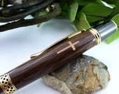 Personalized Walnut and Bethlehem Olivewood Holy Cross Inlay Writing Pen - FREE Engraving