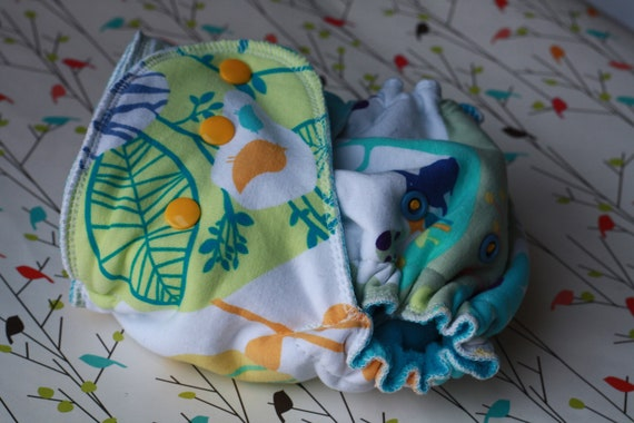 Lambie Love Fitted Cloth Diaper--One Size Fits Most--Woodland Creatures---Cotton Velour & Hemp Fleece