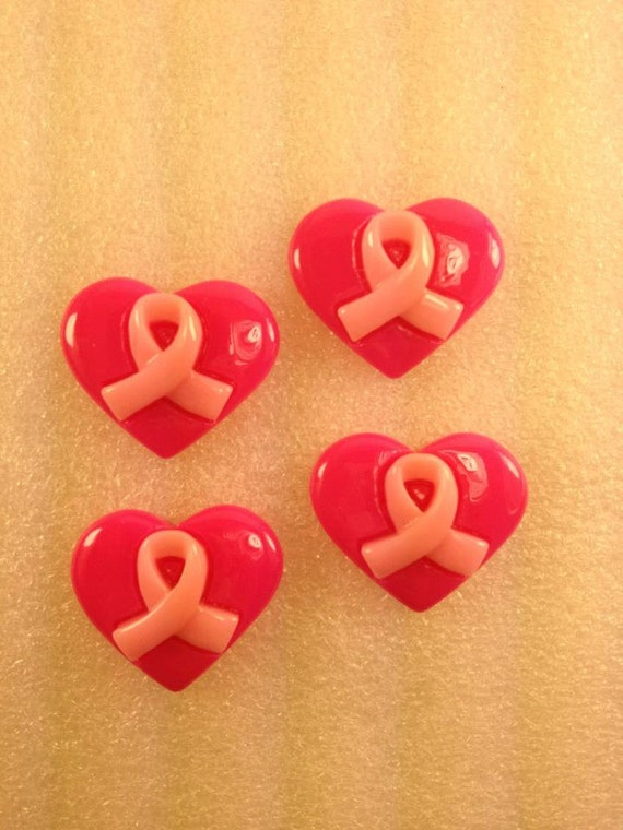 CuTe BReAsTCaNcEr aWaReNeSs HEaRT Flatback Resin Cabochon 4 pieces USA SHIPPING 50% oFF wiTh CoUpOn CoDe: SALE50