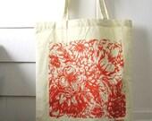 Screen Print Tote - Orange Flowers - Canvas Tote Bag - Floral Tote - Hand Printed Bag, Reusable Grocery Bag - Original Textile Design