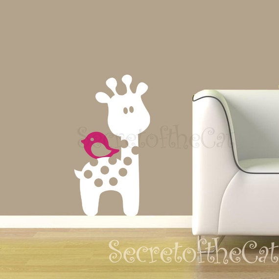Nursery Vinyl Decal - Baby Giraffe Vinyl decal - Giraffe wall decal - Children wall decal - bird decal - Original Design by SecretoftheCat