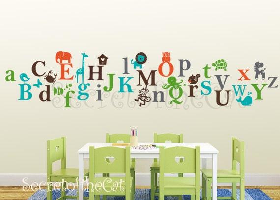 Items similar to kids alphabet vinyl decal abc decal a for Alphabet mural nursery