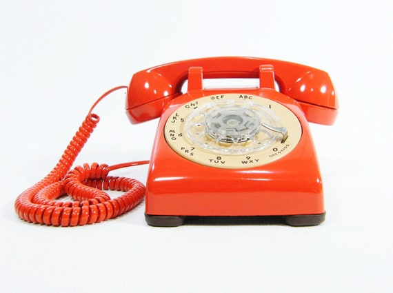 Vintage phone rotary dial telephone upcycled orange and tan