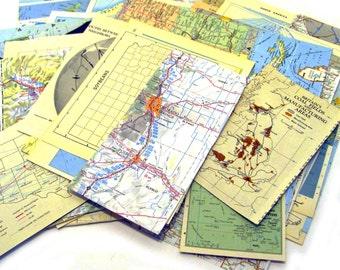 vintage map page ephemera pack of 40