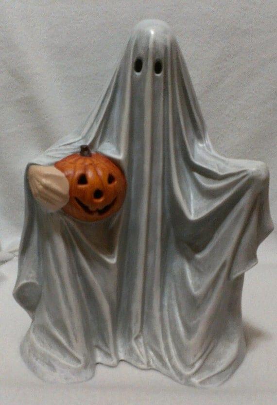Ceramic Ghost Holding Pumpkinhandmade By Artsonfireplano