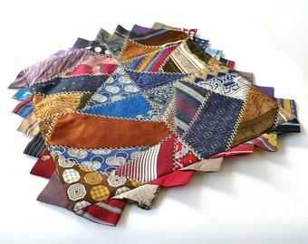 Vintage 1940s Crazy Quilt Tie Pillow Case ... Folk Art, Primitive, Triangles, Patchwork, Cushion Cover, Men's Ties, Colorful Pillowcase