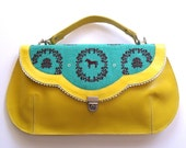 Summer Sale -  Yellow leather purse with a horse