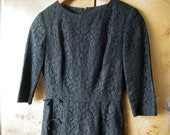 60s Black Lace Wiggle Dress with Half Length Sleeves - S or XS