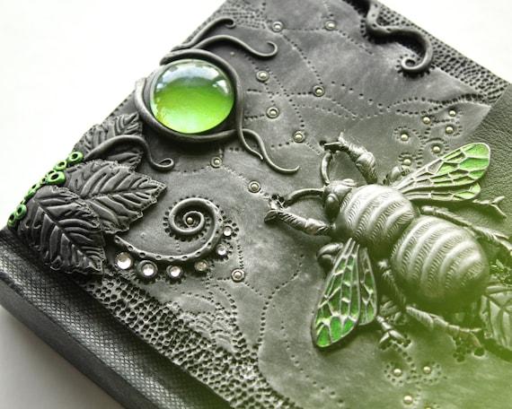 Gothic sketchbook - Green Beetle's Sanctuary - journal - polymer clay - fantasy steampunk gothic lolita blank - skeleton key