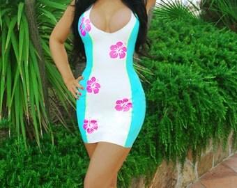Latex Rubber Hawaiian Tropical Hibiscus Appliqué Mini Dress