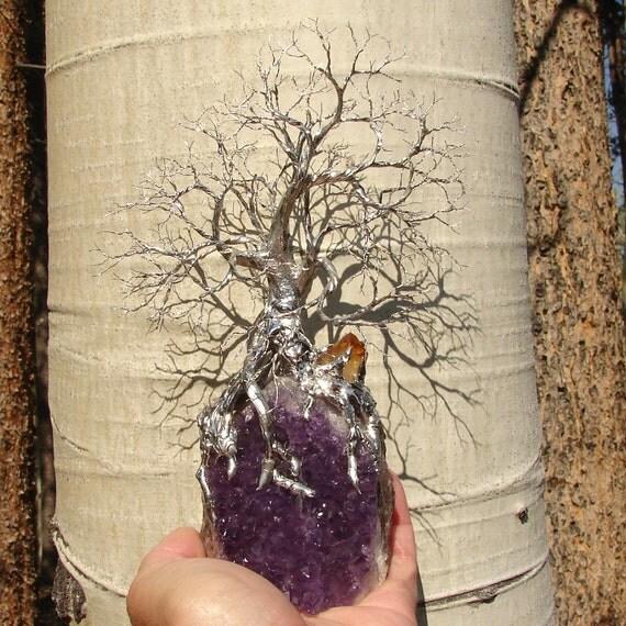 Tree Of Life Spirit sculpture on Uruguay Amethyst Geode Quartz Crystal cluster with Citrine Quartz Crystal, original art  UA5