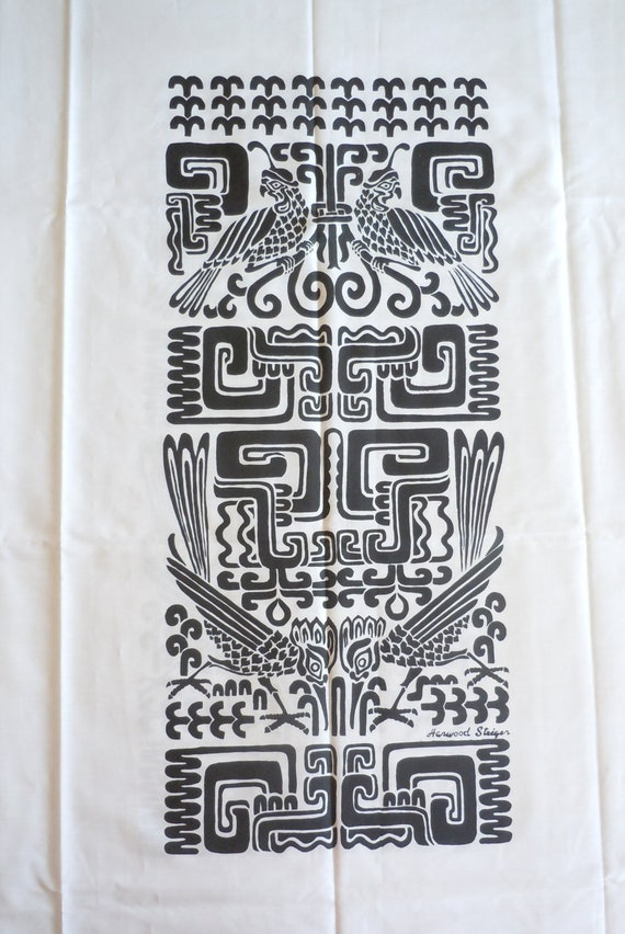 Vintage Harwood Steiger Fabric Aztec Inspired White with Black Design Quail and Roadrunners