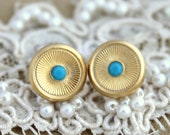 Gold stud round earrings plated real gold with turquoise crystal elegant 14k gold matte coated post earrings