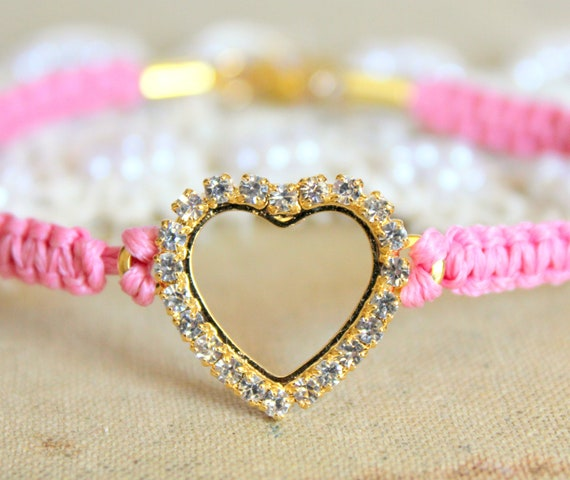 Friendship bracelet pink braided crystal heart with real swarovski rhinestones