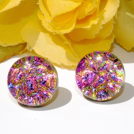 """Dichroic Button Stud Earrings, Fused Glass Jewelry, Post, Round, Circle, Sparkle, Pastel, Purple Pink Gold, 1/2"""" 1.3cm (Item 30403-E)"""