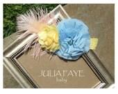 Yellow Blue Pink Feather Baby Headband, Newborn Headband, Child Headband, Adult Headband