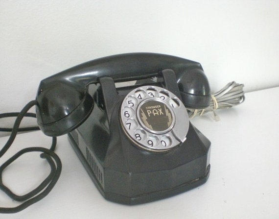 RESERVED FOR RACHEL Vintage Strowger Pax Telephone Rotary Dial Works Monophone Automatic Electric Bakelite 1948
