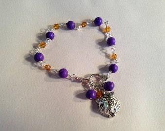 Tiger Bracelet - LSU College Jewelry - Purple Gold Jewellery - Football Mascot - Wire Wrapped